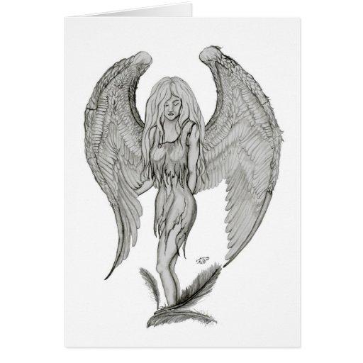 Engel Bleistiftzeichnung Black and white Design Grußkarten