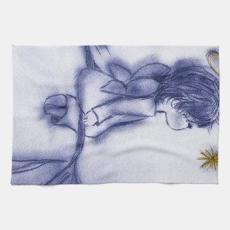 Engel, der auf einem Stern - blaue Tönung wünscht Handtuch