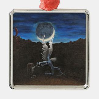 Engel der Befreiung Quadratisches Silberfarbenes Ornament
