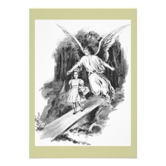 Engel, der ein Mädchen-Kind schützt Einladung