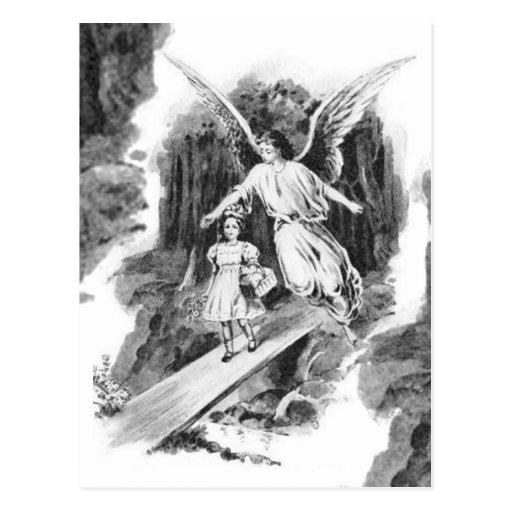 Engel, der ein Mädchen-Kind schützt Postkarten