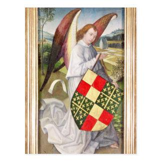 Engel, der ein Schild hält Postkarte