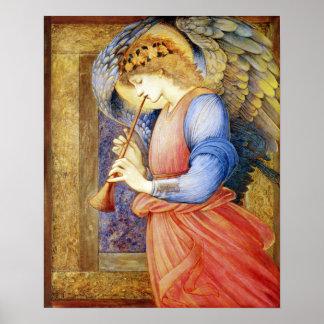 Engel, der einen Flageolett Burne-Jones Plakat-Dru Poster