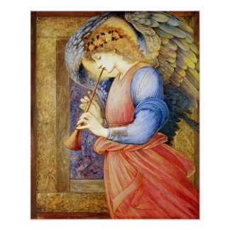 Engel, der einen Flageolett Burne-Jones Poster