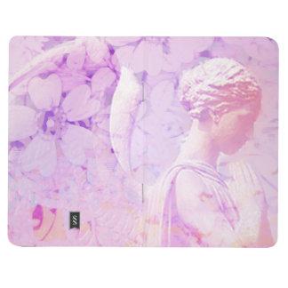 Engel der Gebetstaschenzeitschrift im Lavendel mit Taschennotizbuch