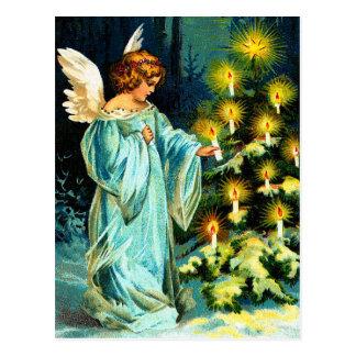 Engel, der Weihnachtsbaum verziert Postkarte
