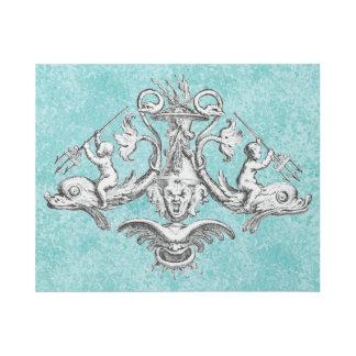 Engel, die Delphine mit Dreizacken reiten Galerieleinwand