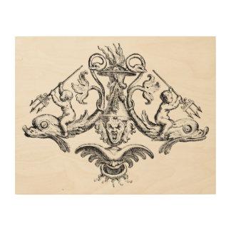 Engel, die Delphine mit Dreizacken reiten Holzleinwand