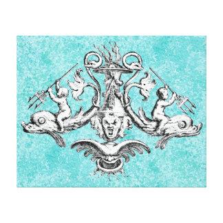 Engel, die Delphine mit Dreizacken reiten Leinwanddruck