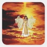Engel in den Himmel-Aufklebern Quadratsticker