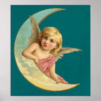 Engel in einem Vintagen Bild des sichelförmigen Poster