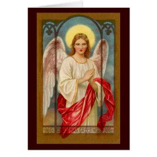 Engel in einer Glasfenster-Weihnachtskarte Karte
