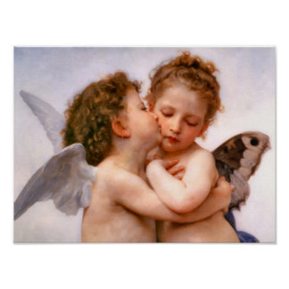 Engel küssen zuerst, Bouguereau schöne Kunst Poster