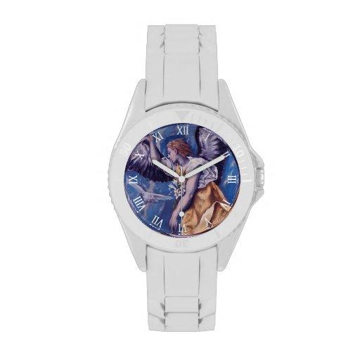 Engel mit einer weißen Taube Uhren