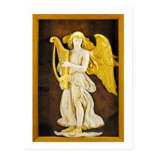 Engel mit goldener Harfe und Flügeln Postkarte