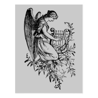 Engel mit Harfe und Flora Postkarte