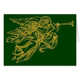 Engel mit Horn Weihnachtskarte auf Grün Karte