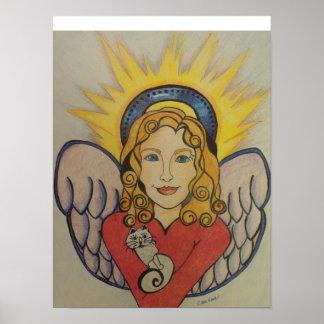 Engel mit Originalvorlage der Katze durch Carol Ze Poster