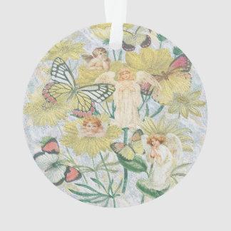 Engel, Schmetterlinge und Blumen im Gelb Ornament