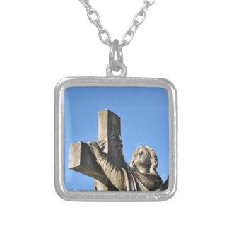 Engel und Kreuz Versilberte Kette