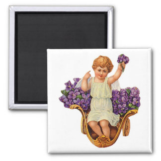 Engel und lila Blumen-Magnet Quadratischer Magnet