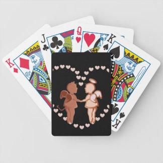Engel und Teufel, die Hände halten Bicycle Spielkarten