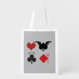 Engel und Teufel-Karten-Anzüge grau Wiederverwendbare Einkaufstasche