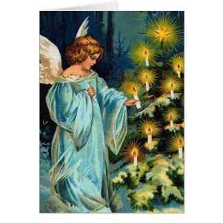 """""""Engel und Weihnachtsbaum"""" Vintag Karte"""