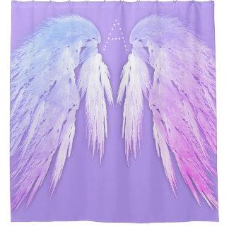 ENGEL WINGS feenhaftes lila Monogramm Duschvorhang