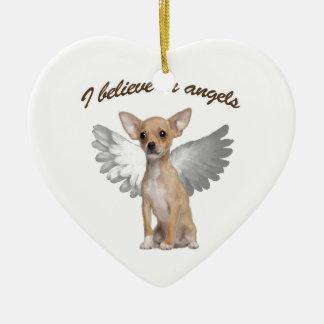 Engels-Chihuahua Keramik Herz-Ornament