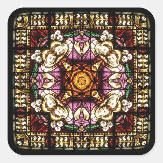 Engels-Fenster-Kaleidoskop-Aufkleber Quadratischer Aufkleber