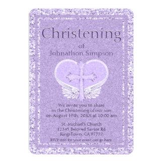 Engels-Flügel-Lavendel-Herz der Taufe-| Karte