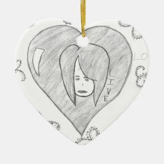 Engels-FriedensLiebe-Livezeichnen Keramik Herz-Ornament