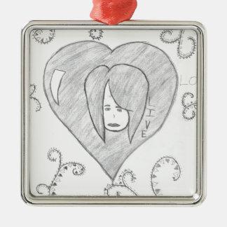 Engels-FriedensLiebe-Livezeichnen Quadratisches Silberfarbenes Ornament