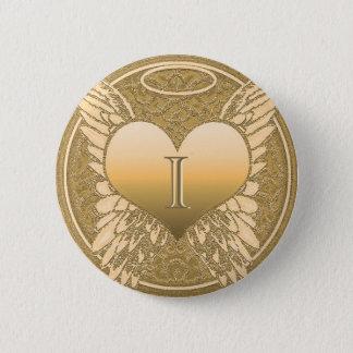 Engels-Herz des Buchstabe-I | des Denkmal-| Runder Button 5,7 Cm