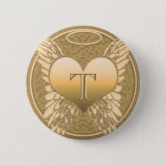 Engels-Herz des Buchstabe-T | des Denkmal-| Runder Button 5,7 Cm