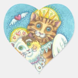 Engels-Katzen-Familie SCHNURRT IN Herz-Aufkleber