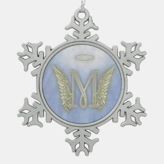 Engels-Monogramm des Buchstabe-M Schneeflocken Zinn-Ornament