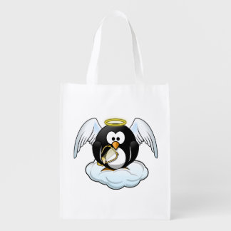 Engels-Pinguin auf einer Wolke Wiederverwendbare Tragetasche