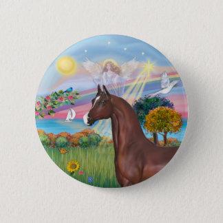 Engels-Stern-Brown-Araber-Pferd Runder Button 5,1 Cm