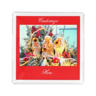 Engelstrompeten der frohen Weihnachten Acryl Tablett