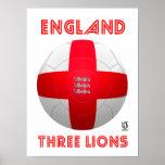 England - drei Löwe-Fußball Poster