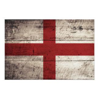 England-Flagge auf altem hölzernem Korn Kunstfotos