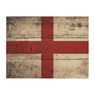 England-Flagge auf altem hölzernem Korn Holzleinwand