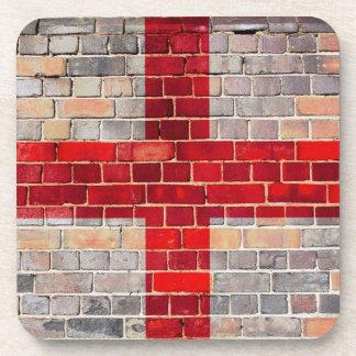 England-Flagge auf einer Backsteinmauer Untersetzer