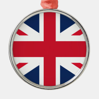 England-Flagge Rundes Silberfarbenes Ornament