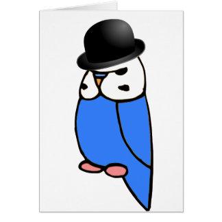 Englisch Budgie mit Hut Karte