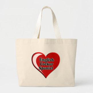 Englisch Cocker spaniel auf Herzen für Hundeliebha Jumbo Stoffbeutel