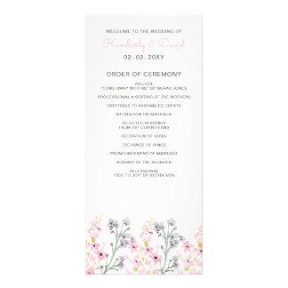 Englische Blumengarten-Hochzeits-Programme Werbekarte