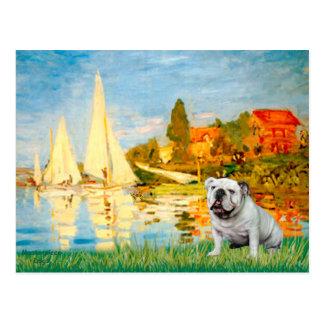 Englische Bulldogge 9 - Segelboote 2 Postkarte